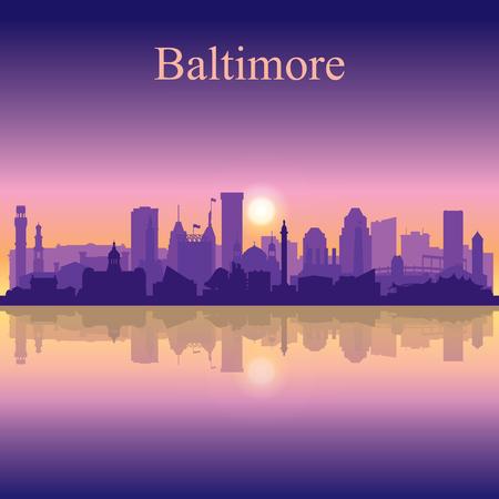 Baltimore silhouette on sunset background vector illustration  イラスト・ベクター素材