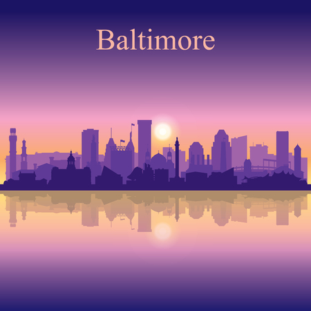 Baltimore silhouette on sunset background vector illustration Иллюстрация