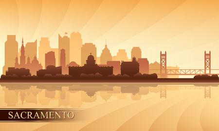 Sacramento city skyline silhouette background, vector illustration