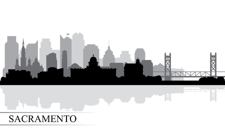 Sacramento city skyline silhouette background, vector illustration