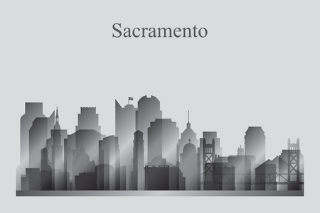 Sacramento city skyline silhouette in grayscale vector illustration