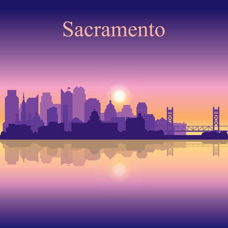 Sacramento silhouette on sunset background vector illustration