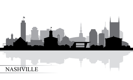 Nashville city skyline silhouette background, vector illustration