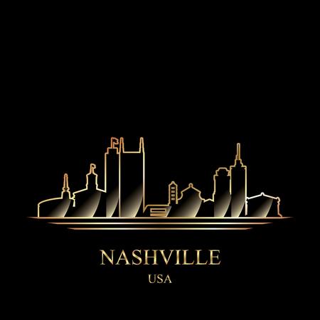 Gold silhouette of Nashville on black background vector illustration