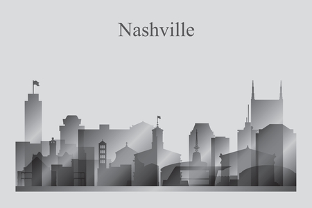 Nashville city skyline silhouette in grayscale vector illustration