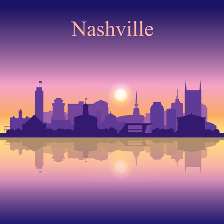Nashville silhouette on sunset background vector illustration