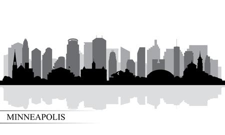 Minneapolis city skyline silhouette background, vector illustration