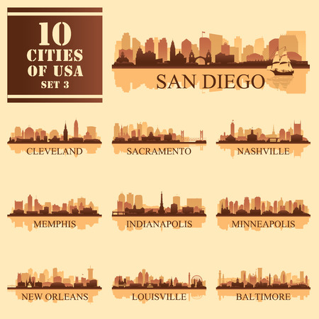 10 cities of United States of America #3, detailed isolated silhouettes, vector illustration.