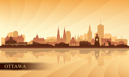 Ottawa city skyline silhouette background, vector illustration 向量圖像