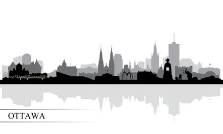 Ottawa city skyline silhouette background, vector illustration Ilustração