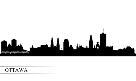Ottawa city skyline silhouette background, vector illustration Çizim