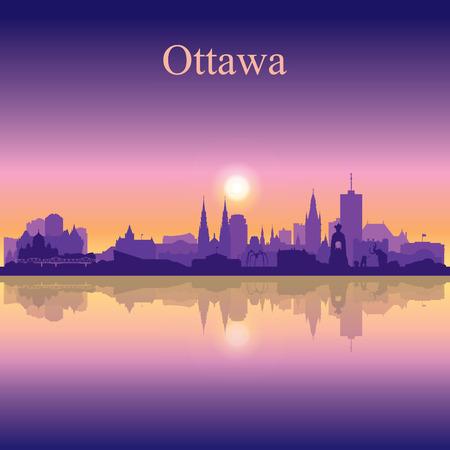 Ottawa city silhouette on sunset background vector illustration Vettoriali