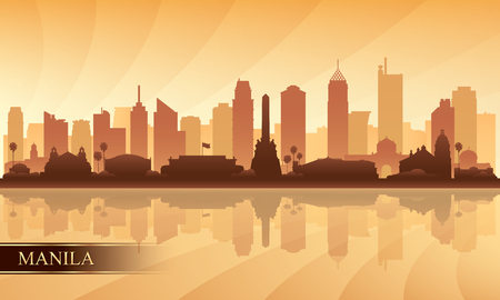 Manila city skyline silhouette background, vector illustration Vectores