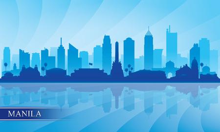 Manila city skyline silhouette background, vector illustration Stock Illustratie