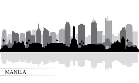 Manila city skyline silhouette background, vector illustration
