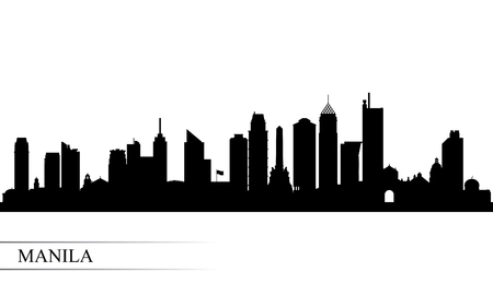 Manila city skyline silhouette background, vector illustration Ilustrace