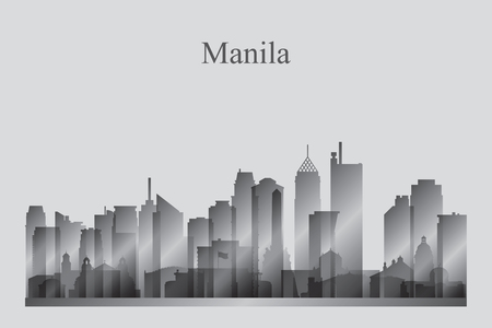Manila city skyline silhouette in grayscale vector illustration