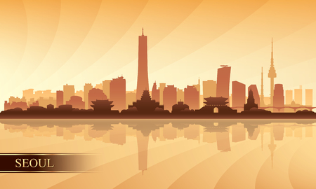 Seoul city skyline silhouette background, vector illustration