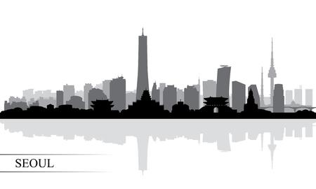 Fondo de silueta de horizonte de la ciudad de Seúl, ilustración vectorial