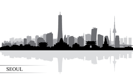 Seoul city skyline silhouette background, vector illustration