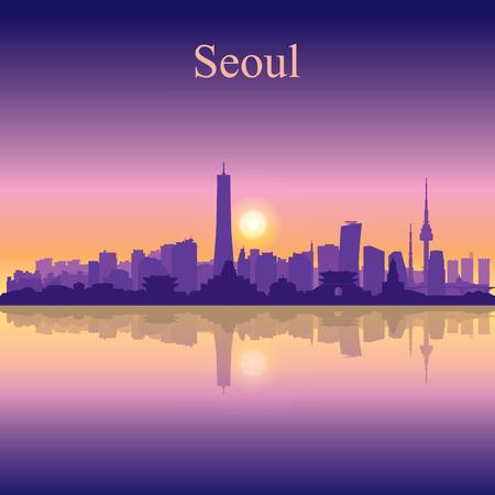 Seoul city silhouette on sunset background vector illustration Illustration