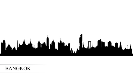 Bangkok city skyline silhouette background, vector illustration