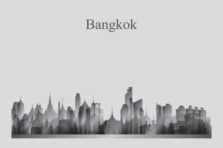 Bangkok city skyline silhouette in grayscale vector illustration