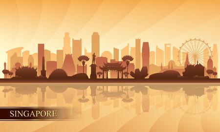 싱가포르 도시의 스카이 라인 실루엣 배경, 벡터 일러스트 레이 션
