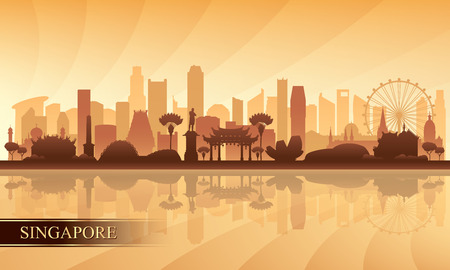 Singapore city skyline silhouette background, vector illustration Stock fotó - 122901712