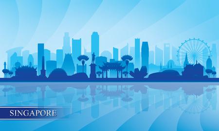 Singapore city skyline silhouette background, vector illustration