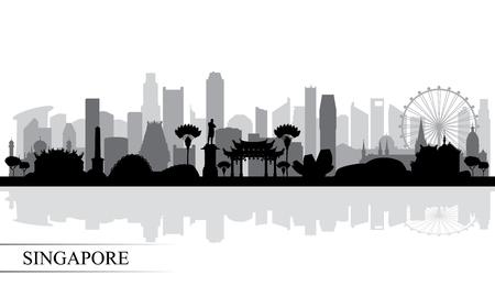 Fond de silhouette d'horizon de ville de Singapour, illustration vectorielle Vecteurs