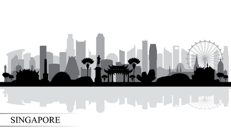Singapore city skyline silhouette background, vector illustration