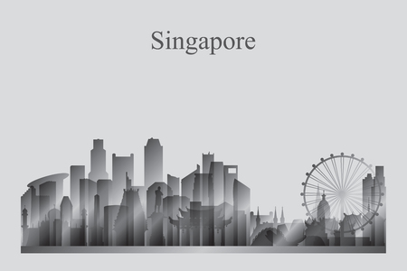 Singapore city skyline silhouette in grayscale vector illustration 向量圖像