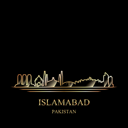 Gold silhouette of Islamabad on black background vector illustration