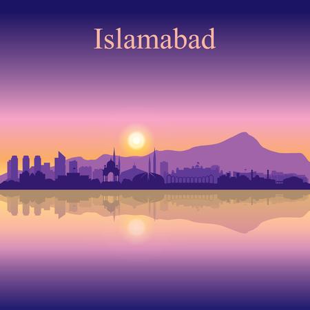 Islamabad city silhouette on sunset background vector illustration