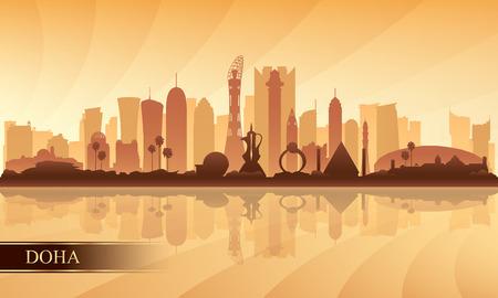 Doha city skyline silhouette background, vector illustration Illustration
