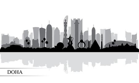 Doha city skyline silhouette background, vector illustration  イラスト・ベクター素材