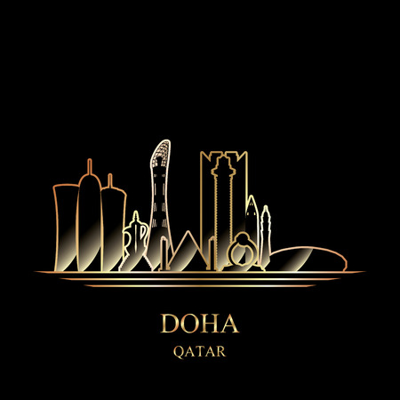 Gold silhouette of Doha on black background vector illustration Illustration