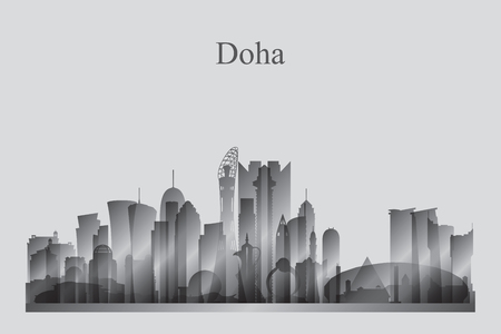 Doha city skyline silhouette in grayscale vector illustration