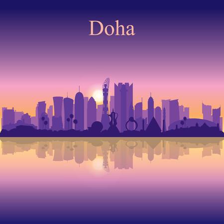 Doha city silhouette on sunset background vector illustration  イラスト・ベクター素材