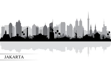 Jakarta city skyline silhouette background, vector illustration Vetores