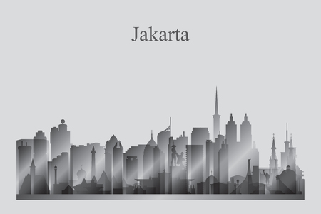 Jakarta city skyline silhouette in grayscale vector illustration