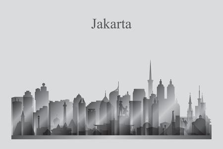 Jakarta city skyline silhouette in grayscale vector illustration Vetores