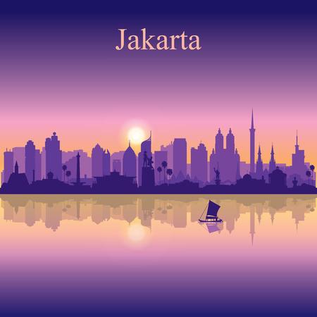 Jakarta city silhouette on sunset background vector illustration Illustration