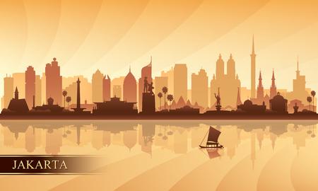 Jakarta city skyline silhouette background, vector illustration Illustration