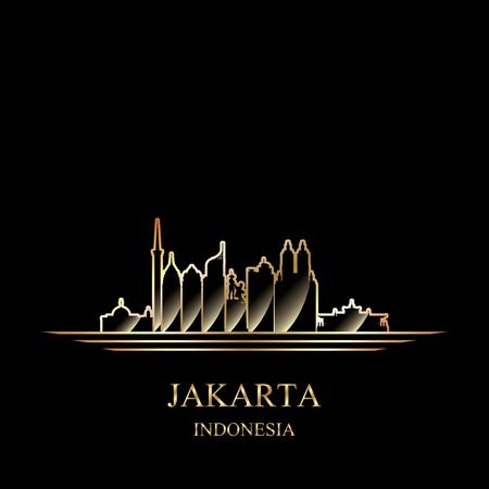Gold silhouette of Jakarta on black background vector illustration  イラスト・ベクター素材