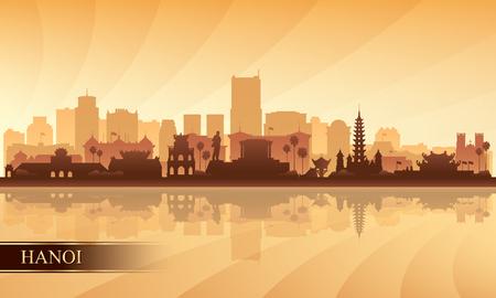Hanoi city skyline silhouette background, vector illustration  イラスト・ベクター素材