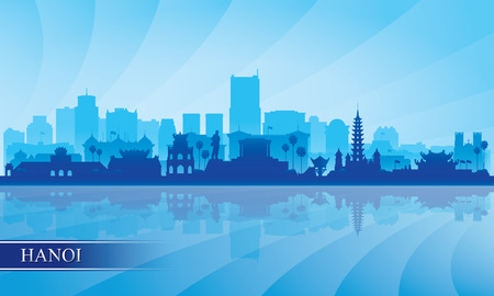 Hanoi city skyline silhouette background, vector illustration 写真素材 - 122902009