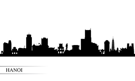 Hanoi city skyline silhouette background, vector illustration Illustration