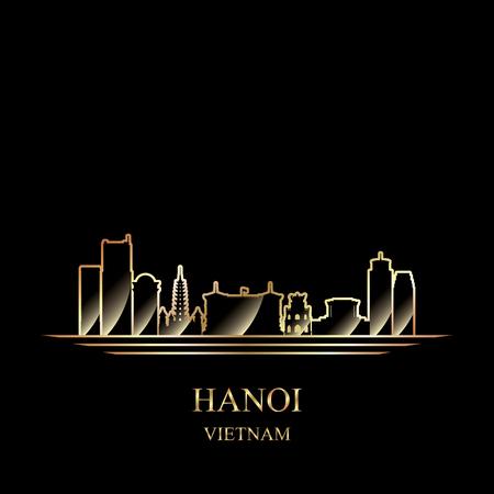 Gold silhouette of Hanoi on black background vector illustration